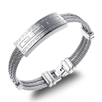 Three rings steel wire braided rope wristband Steel white Fret pattern design