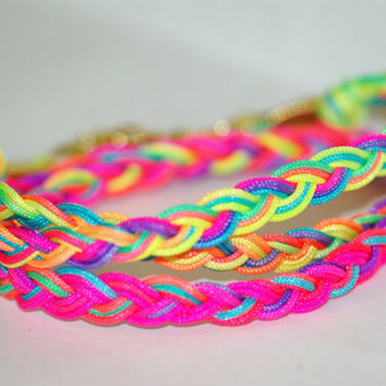 Neon Friendship bracelet wrap, braided bracelet, bright coloreds, gold clasp, neon necklace