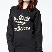 adidas Cheetah Foil Crew Neck Sweatshirt - Womens Hoodie - Black