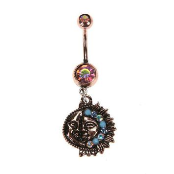 ac DCCKO2Q Vintage Retro Sun Moon Tophus Dangle Piercing Belly Button Ring (Antique Brass) Crystal navel piercing 2017 Body Jewelry