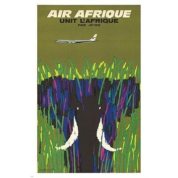 AIR AFRIQUE elephant airliner VINTAGE travel poster BOLD retro 24X36 RARE