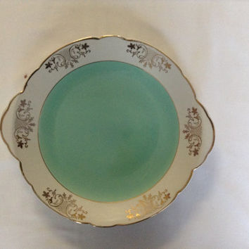 French Vintage Serving Plate Mint Green And White Guilded Bowl
