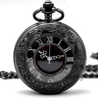 Quartz Pocket Watch Black Chrome Pocket Watch Pendant Roman Number pocket watch-Groomsmen Gift Mens Pocket Watch