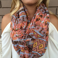 Coral Aztec Infinity Scarf