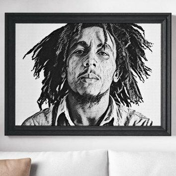 Bob Marley Painting Poster Art Painting Print Canvas Print Music Poster Canvas Poster Design Wall Art Home Gift Reggae Poster