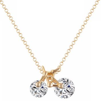 Gold Plated Bicycle Crystal Zircon Pendant Necklace