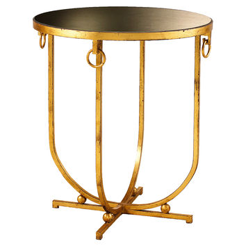"French Heritage, Clairval 24"" Round Side Table, Gold Leaf, Standard Side Tables"