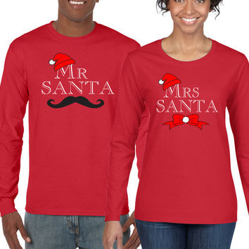 Christmas Shirt, Christmas Tshirt, Holiday Shirts, Mr and Mrs Santa Shirts, Couples Tshirts, Matching Couples Long Sleeve Shirts