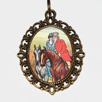 Horse Couple Necklace, Horse Jewelry, Oval Pendant
