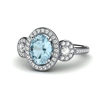 Platinum Aquamarine Engagement Ring 3 Stone Oval Aqua Diamond Halo Aquamarine Ring March Birthstone