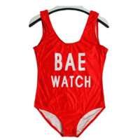 Womens Letters Print BAE WATCH One Piece Red Bikini Swimsuit