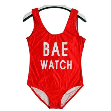 Womens Letter Print BAE WATCH One Piece Red Bikini Swimsuit