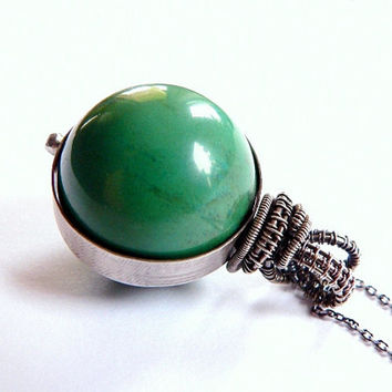 Green turquoise statement necklace, sterling silver wrapped pendant, natural jewelry, OOAK necklace
