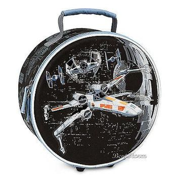 Licensed cool Star Wars X-Wing Fighter Vehicles Round Lunch Box Bag Tote Disney Store NEW 2015