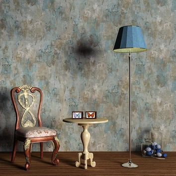 Vintage Retro Grey Cement Wallpaper Modern Simple 3D Blue Mottled Texture Wall Paper Bedroom Restaurant Cafe Backdrop Wall Decor