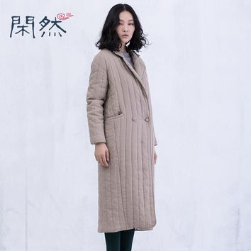 XianRan Women Coat Long Jacket Cotton-padded Clothing Back Split Linen Casual Winter Coat Plus Size 2017