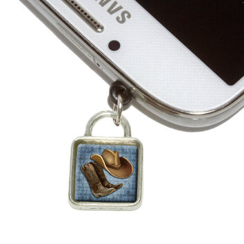 Cowboy Hat and Boots Country Square Mobile Phone Silver Charm