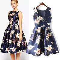 Women's Fashion Print Backless Polyester One Piece Dress [4914987588]