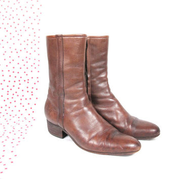 80s Brown Leather Ankle Boots Beatles Justin Cowboy Boots Womens Chunky Heel Western Work Boots (Size 10)