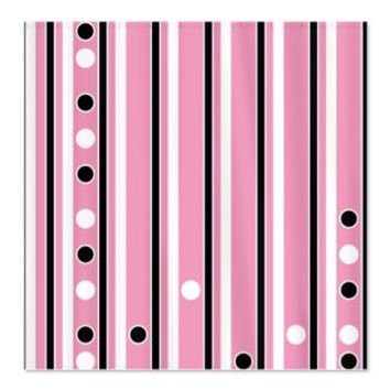 Black and white stripes and dots on pink Shower Cu> Polka Dotted Shower Curtains> Shower Curtains