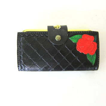 Black Wallet tooled billfold wallet purse Red Rose Vegan Wallet Coin Purse 1970s Hipster Pocket Book