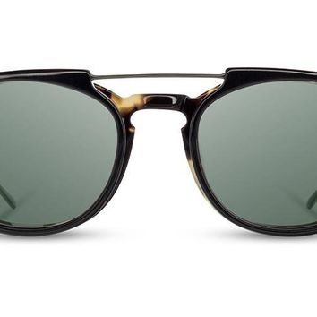 Shwood - Kennedy City Acetate Havana Black Clip Sunglasses / G15 Polarized Lenses