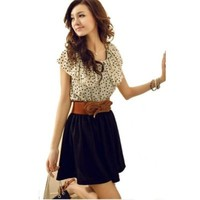 Women Chiffon Summer New Fashion Short Sleeve Dots Polka Waist Mini Dress (S)