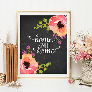 Home sweet home print Entrance wall art welcome print decor art home calligraphy quotes art calligraphy quote watercolor decor ID69-70