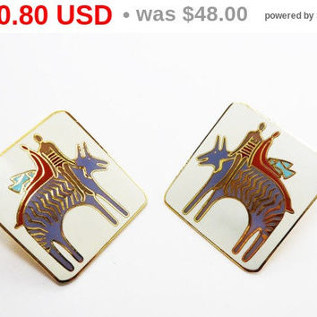 "Laurel Burch Earrings - ""Fantasy Friends"" - Square Earrings with Post Studs for Pierced Ears - Mod Pop Art - 1980's Vintage"