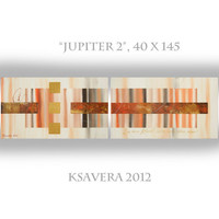 """Abstract Painting on canvas Acrylic Original diptych art Contemporary Palette Knife KSAVERA """"Jupiter 2"""" 40x145 Large orange brown gold"""