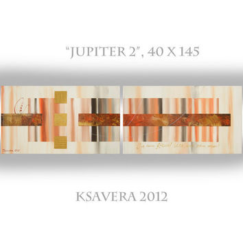 "Abstract Painting on canvas Acrylic Original diptych art Contemporary Palette Knife KSAVERA ""Jupiter 2"" 40x145 Large orange brown gold"