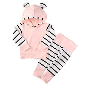 2pcs Newborn Girl Cotton Hoodie with Striped Pants