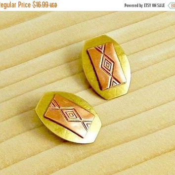 ON SALE Modernist Earrings, Vintage Earrings, Copper & Brass, Mid Century Modern, 1960s, Clip On Earrings.