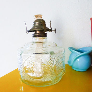 Glass oil lamp base, glass lamp, clear glass, amish design, horse and buggy, hurricane lamp, vintage lamp, home decor, lamplight farms