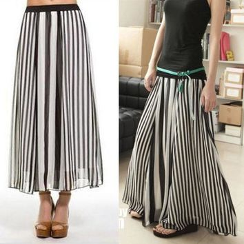 DCCKIX3 Women Girl Black/White Stripe Summer Chiffon Maxi Long Full Skirt Elastic waist 13981 (Size: L, Color: Black white)