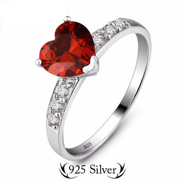 Genuine 925 Sterling Silver Ruby Imitation Heart Ring