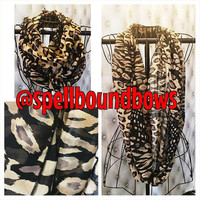 Leopard Cheetah Zebra Tan Brown and Black Chiffon Infinity Scarf Women Teens Accessory