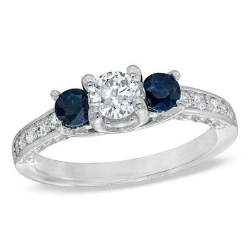 1/2 CT. T.W. Diamond and Blue Sapphire Three Stone Engagement Ring in 14K White Gold