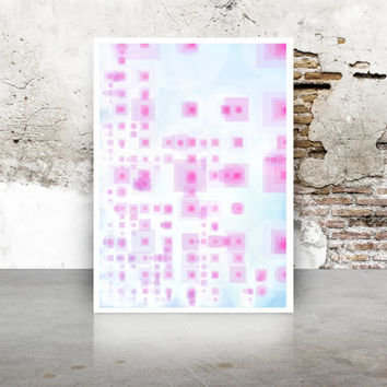 Abstract Generative Art Dividing Bubbles and Boxes,  pink and blue fine art print. geeky baby room wall art.  Limited Edition growthBoxes_9q