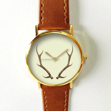 Antler Watch Deer Watches for Women Men Leather Ladies Jewelry Accessories Gift Ideas Spring Fashion Personalized Unique Vintage Forest Boho