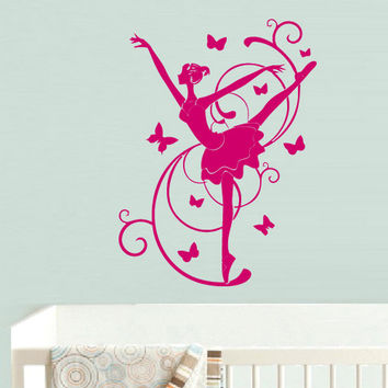 rvz730 Wall Decal Vinyl Sticker Decor Nursery Kids Baby Ballet Ballerina Dancer