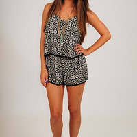 Here Comes Goodbye Romper: Black/Cream