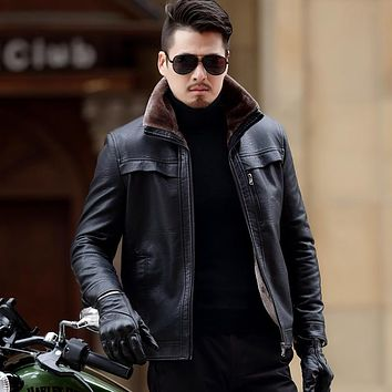 Winter Casual Thick Leather Coats Lining Jacket