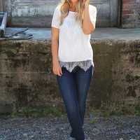 Lace Cutie Blouse {White}