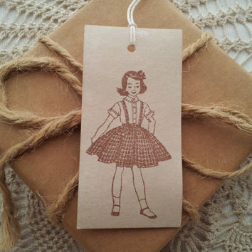 Little Girl Vintage Inspired Tags Set of 10
