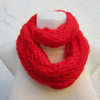 infinity scarf Finger Knitting Scarf -Red-  Necklace scarf   Winter Accessories-chain loop scarf