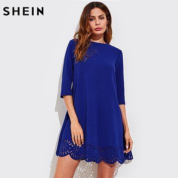 SHEIN Scallop Laser Cut Hem Swing Dress Royal Blue Three Quarter Length Sleeve Zipper Back Casual Straight Dress