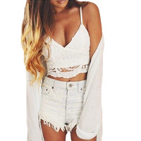 New Sexy Women Bustier Crop Top Crochet Lace Deep V Neck Spaghetti Strap Backless Camisole Bralette Crop Tops Black/White A110
