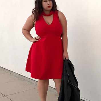 Plus Size Cutout-Back Mock Neck Dress
