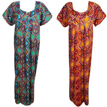 Womens Skye Womens Nightgown Caftan Printed Cotton Summer Kaftan Maxi Dress XL Lot of 2: Amazon.ca: Clothing & Accessories
